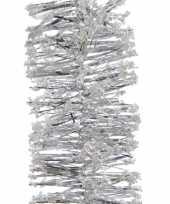 Zilveren feestversiering folie slinger met sneeuw 200 cm