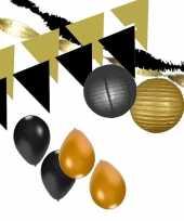 Zwart en gouden feestartikelen decoratie pakket xxl